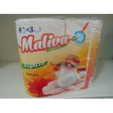 Тоалетна хартия Малива 3 пласта 4 рула Тропикал