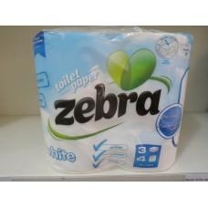 Тоалетна хартия Зебра уайт 4 рула 3 пласта