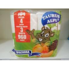 Тоалетна хартия Таурус Алпи 3 пласта 4 рула праскова